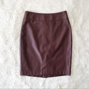 The Limited vegan leather wine pencil skirt